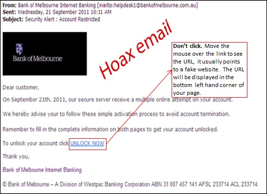 Hoax emails, security centre | Bank of Melbourne