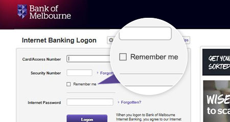 Bank of Melbourne home page
