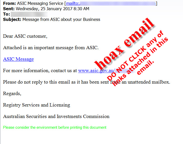 ASIC scam email